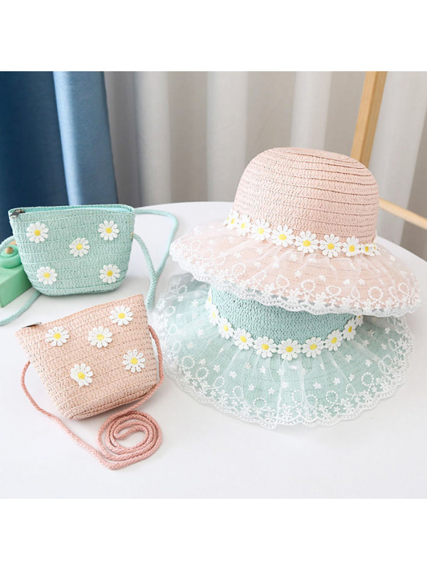 Sweet Flower and Lace Hat and Bag Set