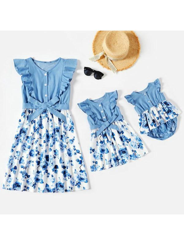Sweet Blue Flowers Denim Stitching Mom Girl Matching Dress