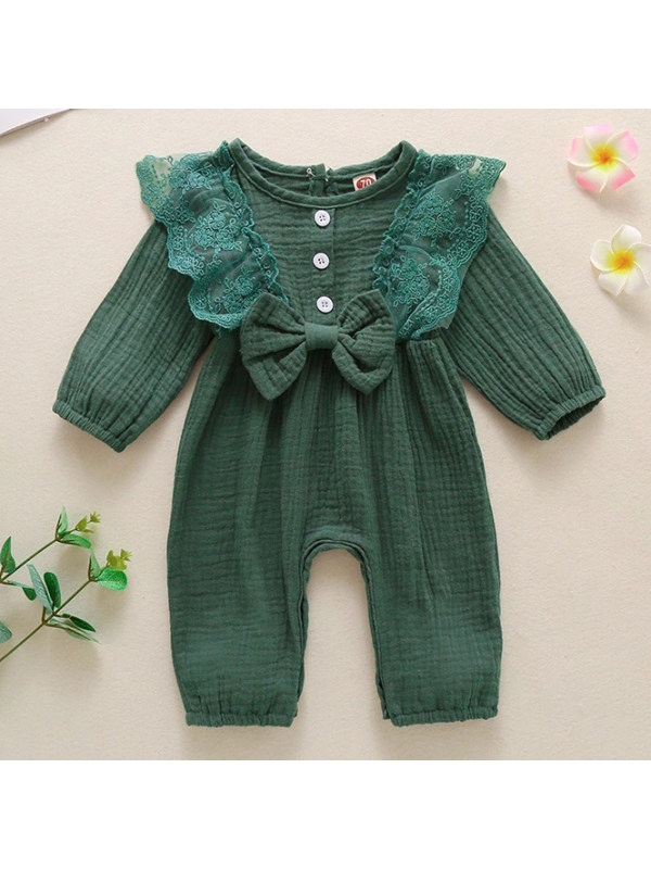 【6M-3Y】Cute Lace and Bow Long Sleeve Romper