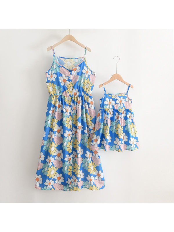 Daisy Print Mom Girl Matching Sling Dress
