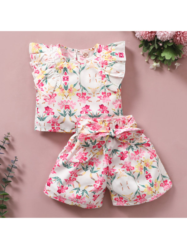 【18M-7Y】Sweet Pink Flower Print Sleeveless Top Bow Shorts Set