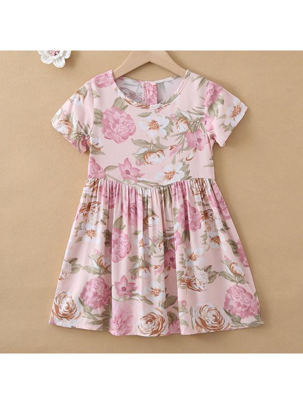 【18M-7Y】Sweet Pink Floral Print Round Neck Short Sleeve Dress