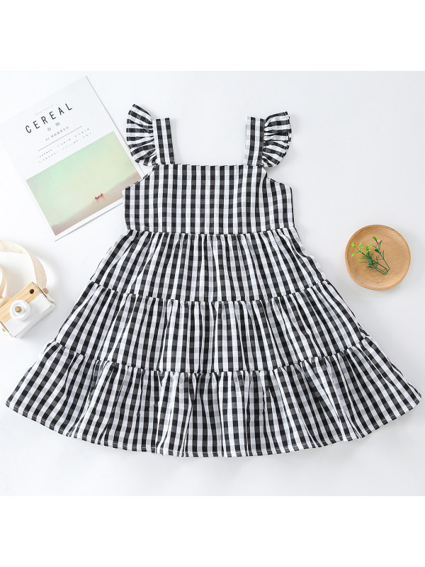 【18M-7Y】Sweet Fashion Black and White Plaid Dress