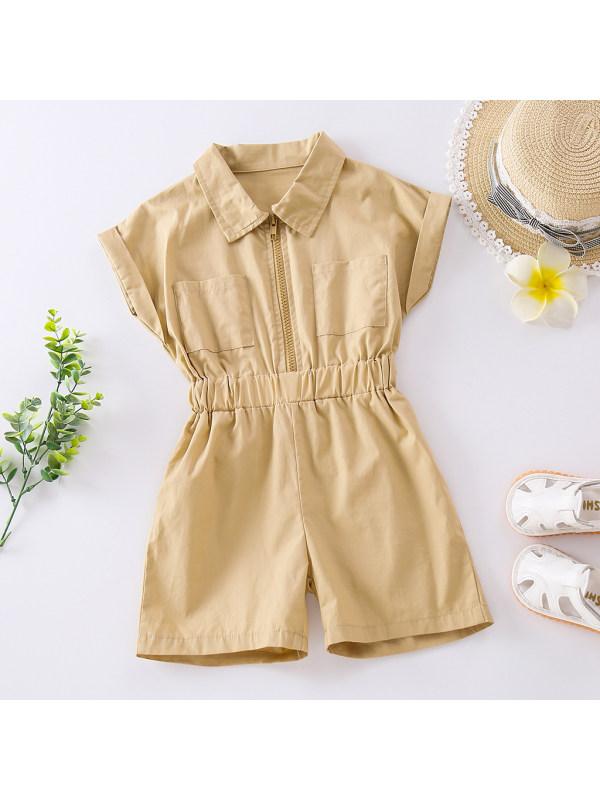 【18M-7Y】Fashion Casual Khaki Short-sleeved Jumpsuit