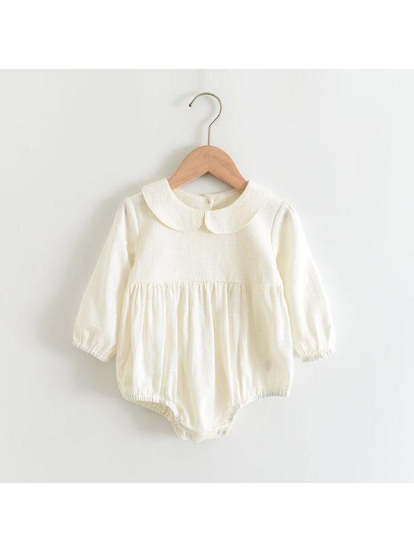 【6M-24M】Baby Romper Solid Color Cotton Jumpsuit
