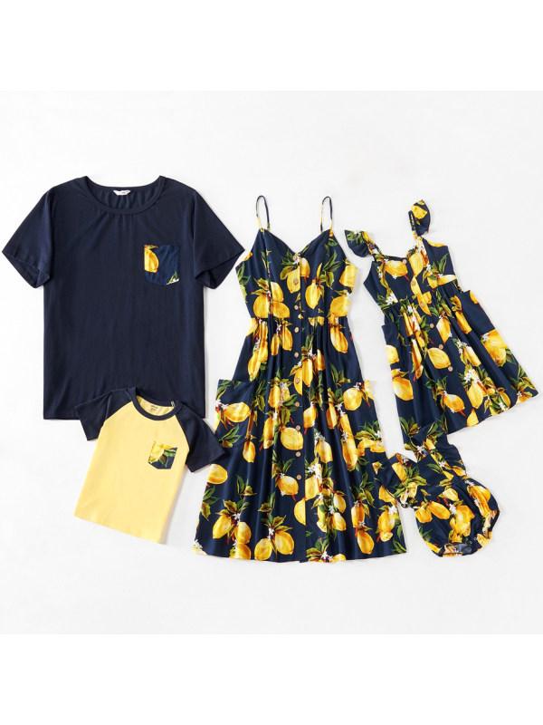 Fashion Casual Lemon Print T-shirt and Dress Family Matching Outfits