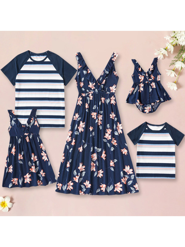 Fashion Casual Striped and Floral Printed T-shirt and Dress Family Matching Outfits