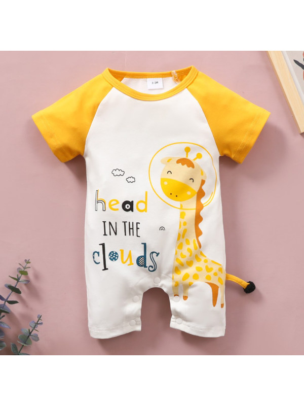 【0M-18M】Cute Cartoon and Letter Print Round Neck Short Sleeve Romper