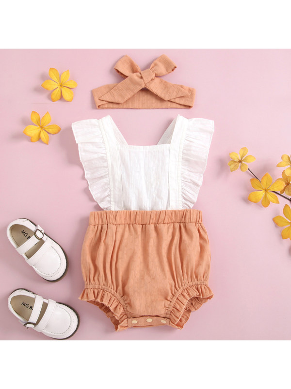 【3M-24M】Cute Little Flying Sleeve Romper with Turban
