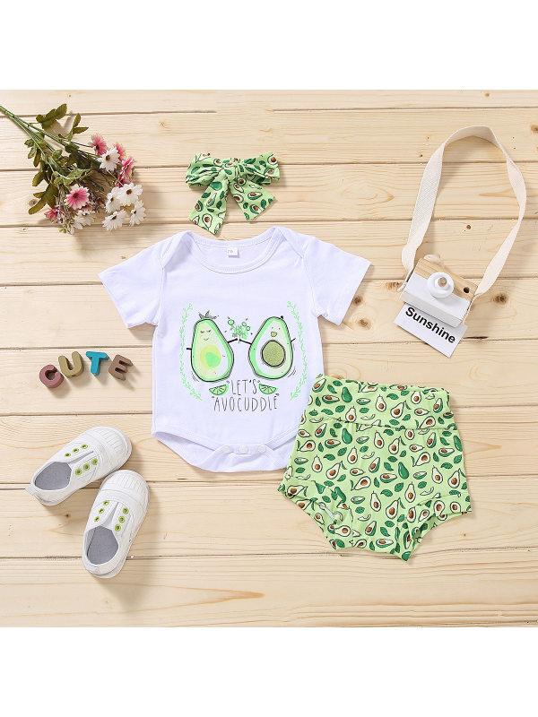 【6M-3Y】Girls Avocado Print Short-sleeved Romper Set