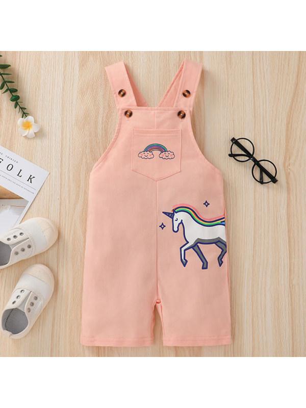 【18M-6Y】Girl Sweet Pink Unicorn Pattern Overalls