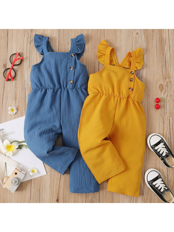 【6M-3Y】Sweet Pure Color Flying Sleeve Overalls