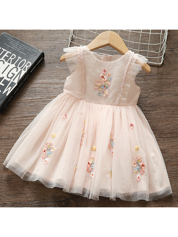 【12M-5Y】Girls Sweet Embroidered Mesh Dress