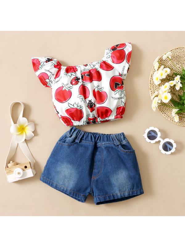 【12M-5Y】Girls Sweet Cherry Pattern Top Denim Shorts Set