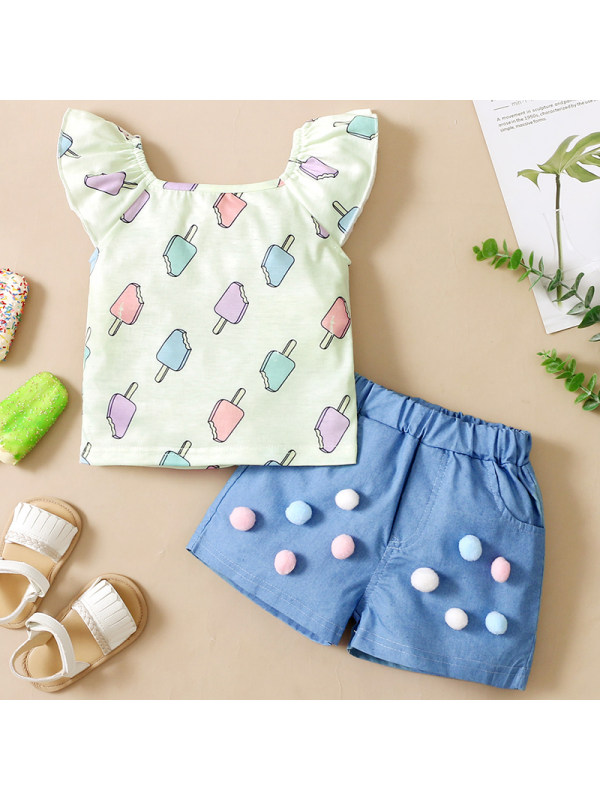 【6M-3Y】Baby Girl Sweet Ice Cream Pattern T-shirt Denim Shorts Set