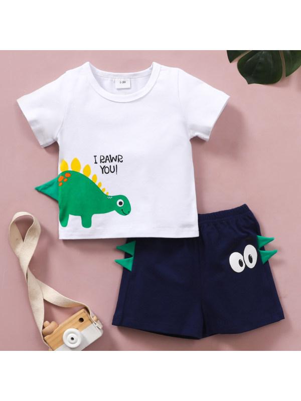 【0M-12M】Cute Cartoon Dinosaur Print T-shirt and Shorts Set