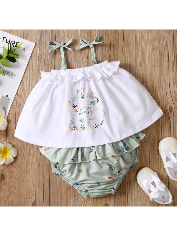 【0M-18M】Cute Cartoon Print Sling Top and Green Shorts Suit