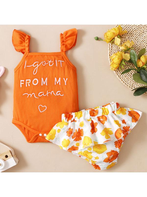 【6M-3Y】Baby Girl Orange Embroidered Romper Floral Shorts Set