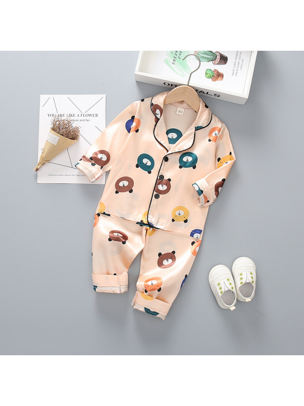 【12M-4Y】Boys Cartoon Print Long-sleeved Top And Trousers Two-piece Suit