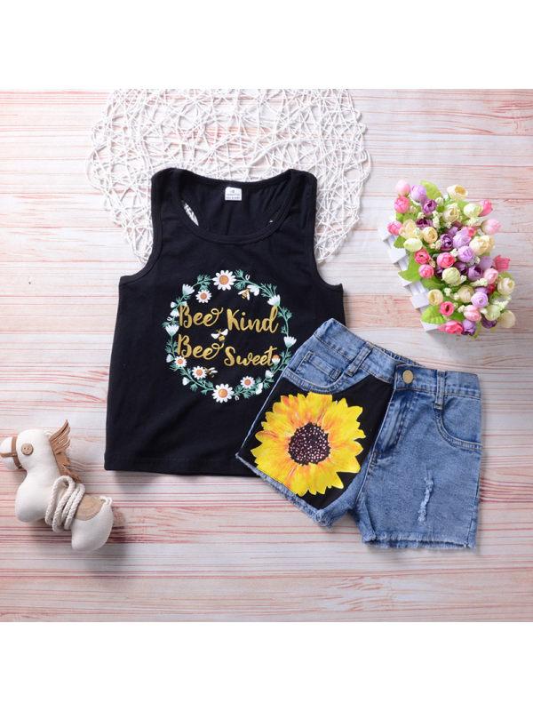 【18M-7Y】Summer Girl Child Sling Top Denim Shorts Suit