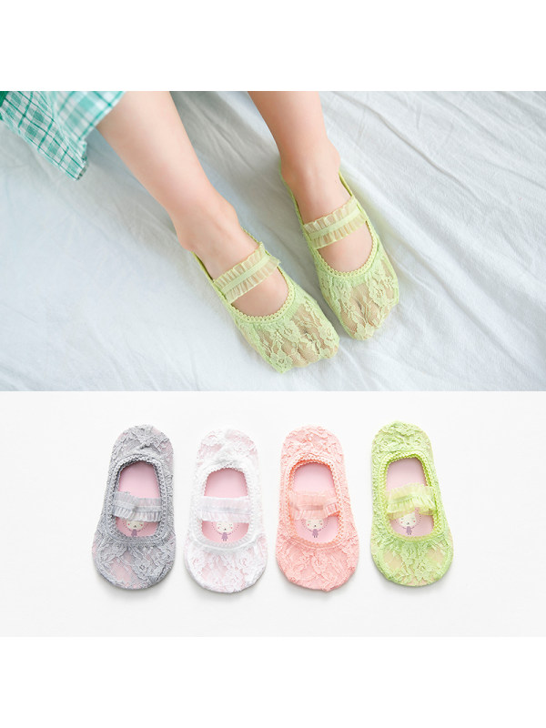 Girls Lace Boat Socks