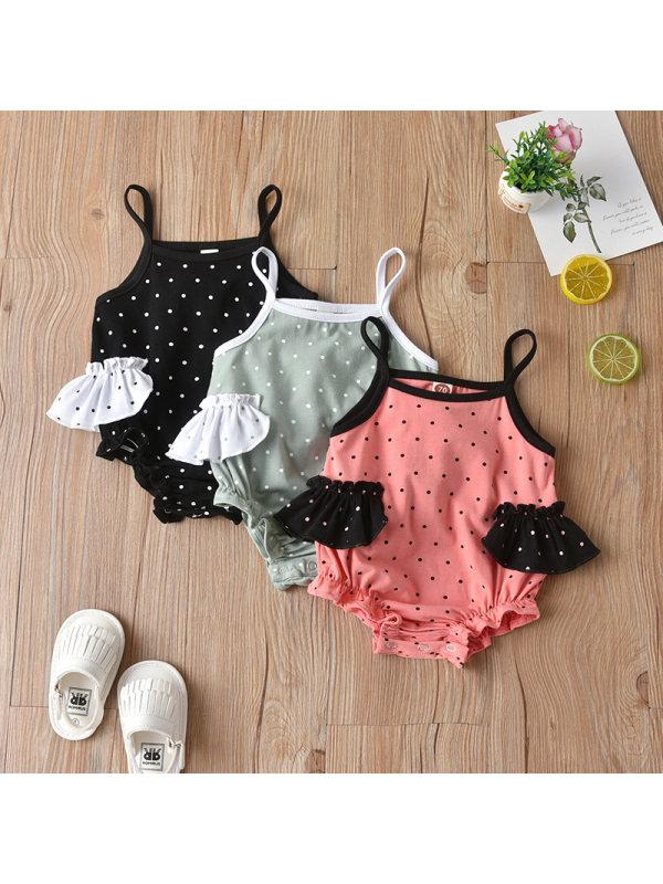 【6M-3Y】Girls' Tricolor Polka Dot Print Romper Jumpsuit