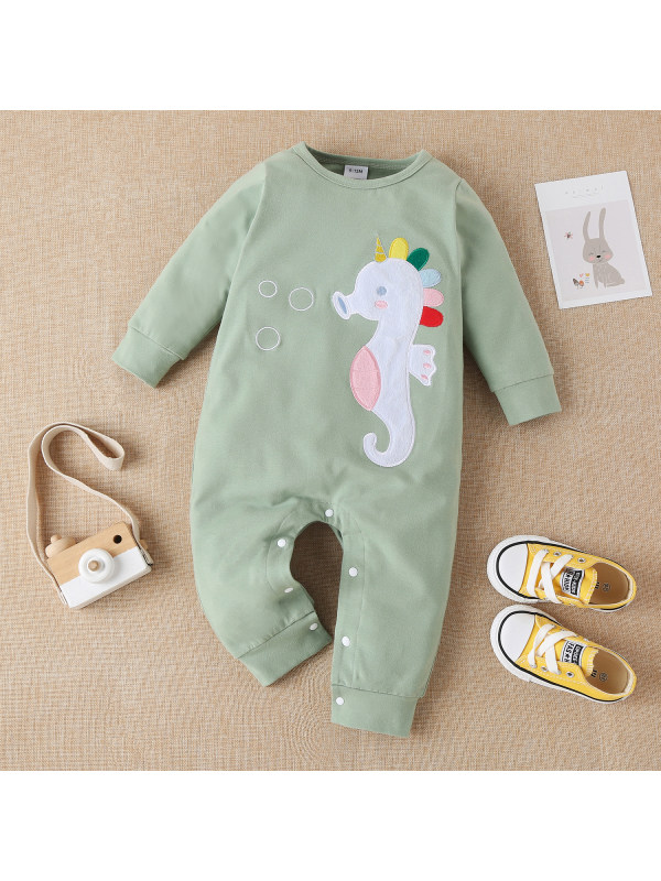 【3M-18M】Baby Long Sleeve Trousers Embroidered One-piece Romper