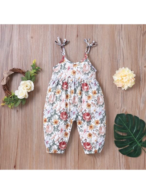 【6M-24M】Infant Summer Sling Floral One-piece Romper