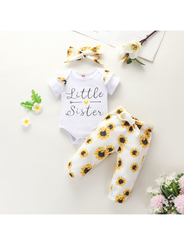 【6M-3Y】Girls English Printed Tops Romper Sunflower Printed Pants Set