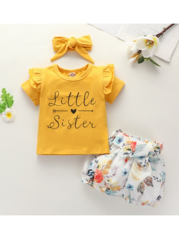 【18M-7Y】Girls English Print Short-sleeved Top And Shorts Suit