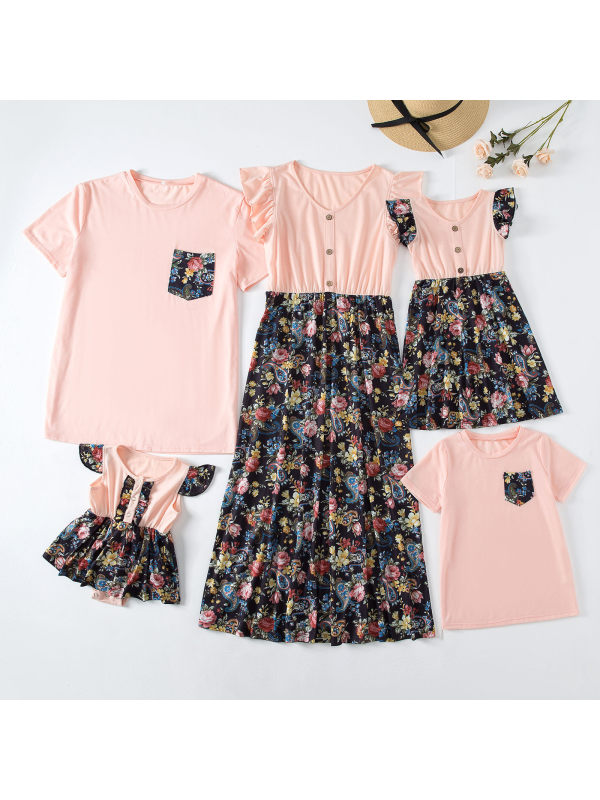 Casual Pink T-shirt and Floral Print Dress Family Matching