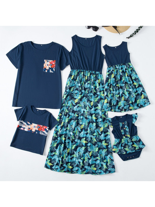 Casual Blue T-shirt and Floral Print Dress Family Matching