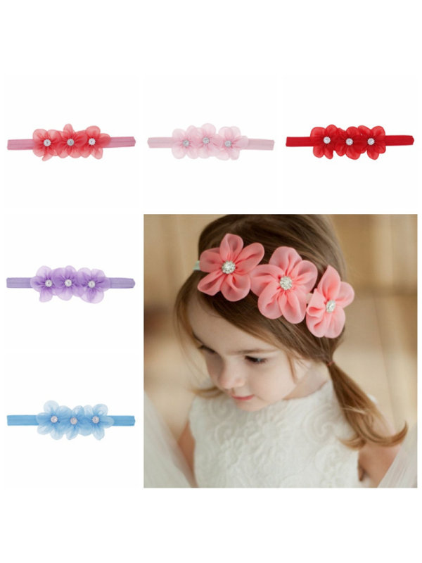Three Little Flowers Baby Hair Band