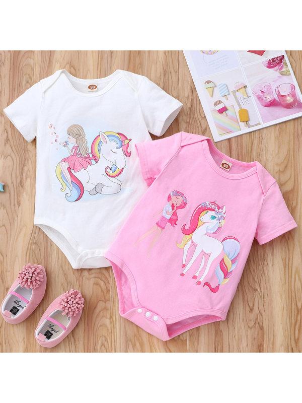 【3M-18M】Baby Girl Sweet Cartoons Pattern Romper