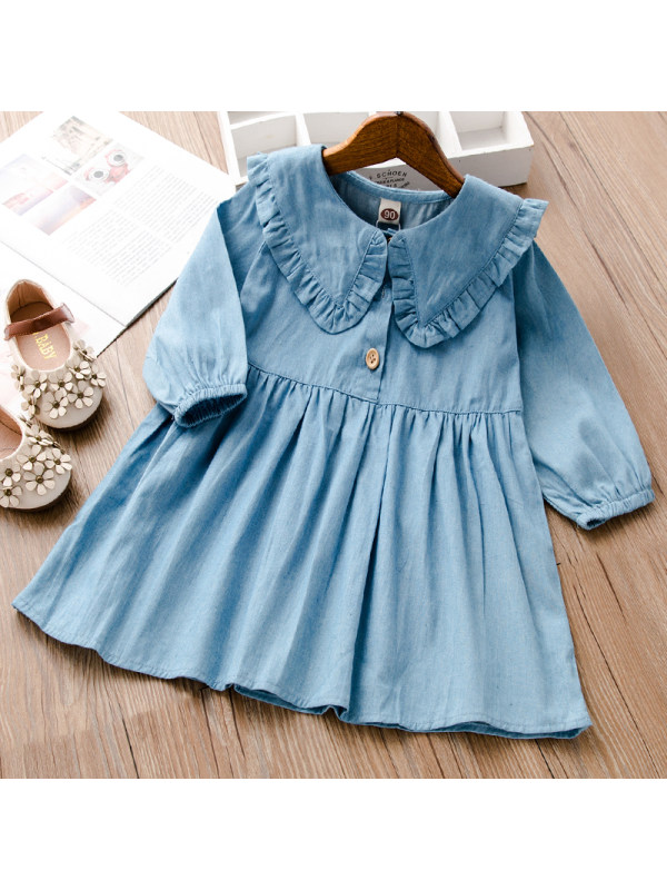 【18M-7Y】Girls Sweet Denim Long Sleeve Dress