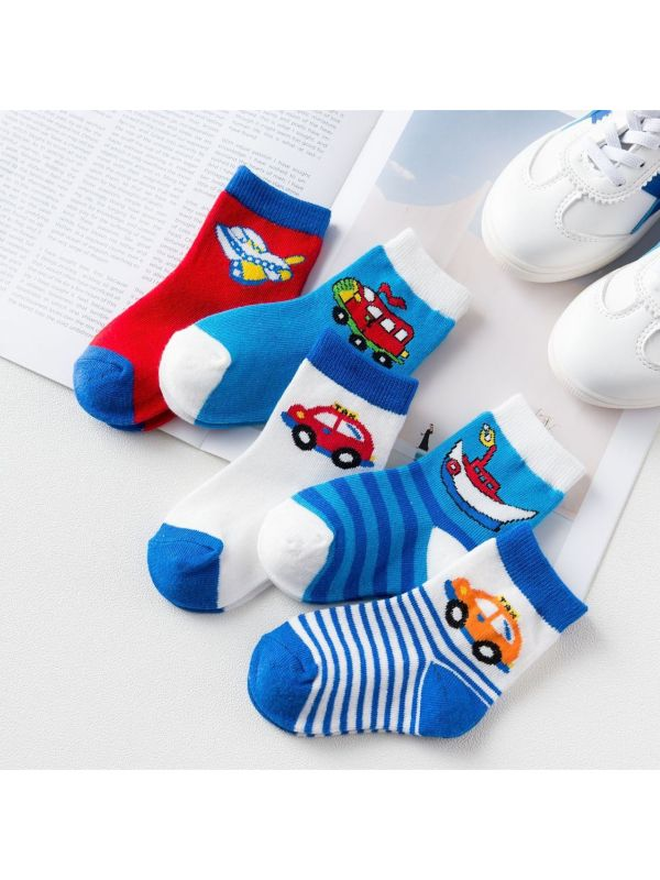 5 Pairs of Cartoon Middle Tube Socks