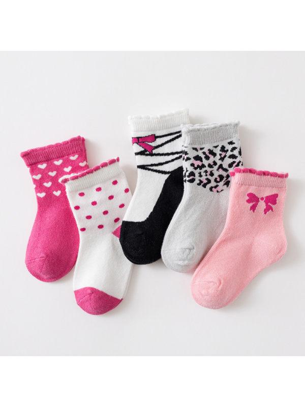 5 Pairs of Cartoon Socks Pink Gray Leopard Print