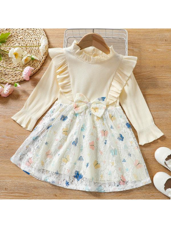 【18M-7Y】Sweet Butterfly Print Beige Long Sleeve Lace Dress