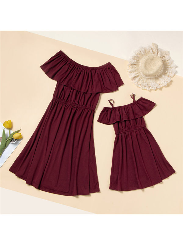 Solid Color Strapless Mom Girl Matching Dress
