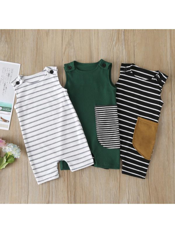 【6M-3Y】Baby Boy Striped Sleeveless One-piece Romper
