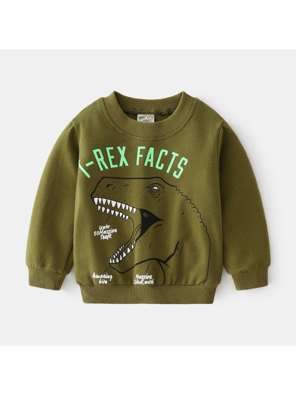 【18M-7Y】Boys Cartoon Dinosaur Print Pullover