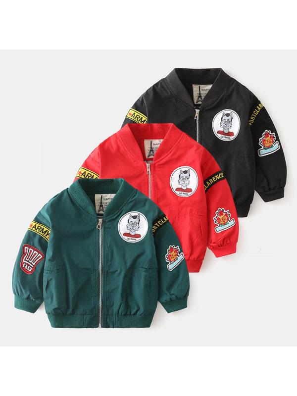 【18M-7Y】Boys Labeled Flight Suit Baseball Jacket
