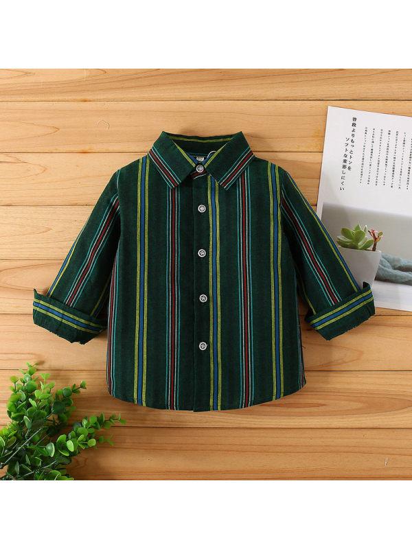 【12M-5Y】Boys Long Sleeve Casual Lapel Striped Shirt
