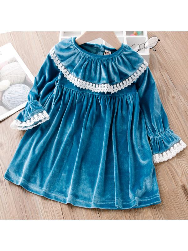 【18M-7Y】Girl Sweet Blue Velvet Long-sleeved Dress
