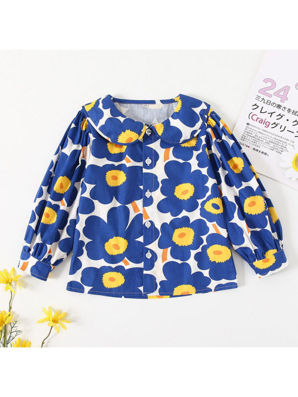 【18M-7Y】Girls Puff Sleeve Lapel Printed Long Sleeve Shirt