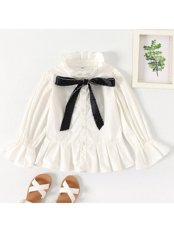 【18M-7Y】Girls Sweet Lace Sleeve Shirt Stand Collar Bow Shirt