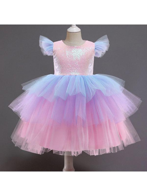 【3Y-11Y】Girls Sweet Sequined Mesh Princess Dress
