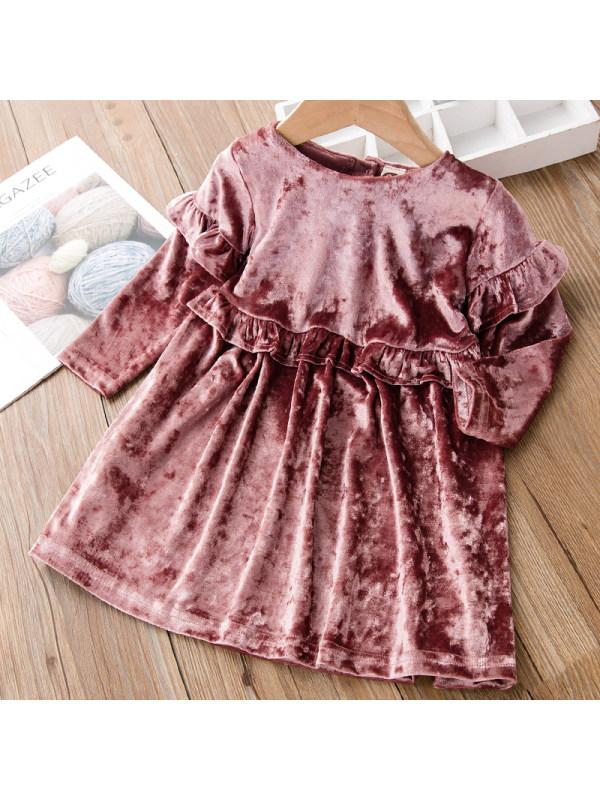 【18M-7Y】Girls Sweet Pink Velvet Long-sleeved Dress