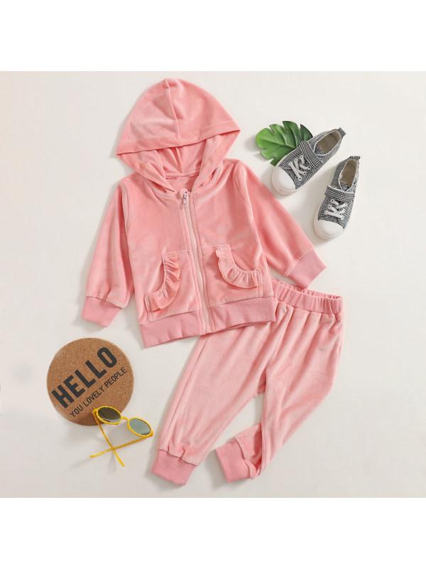 【6M-2.5Y】Baby Girl Sweet Pink Velvet Hooded Sweatshirt Pants Set