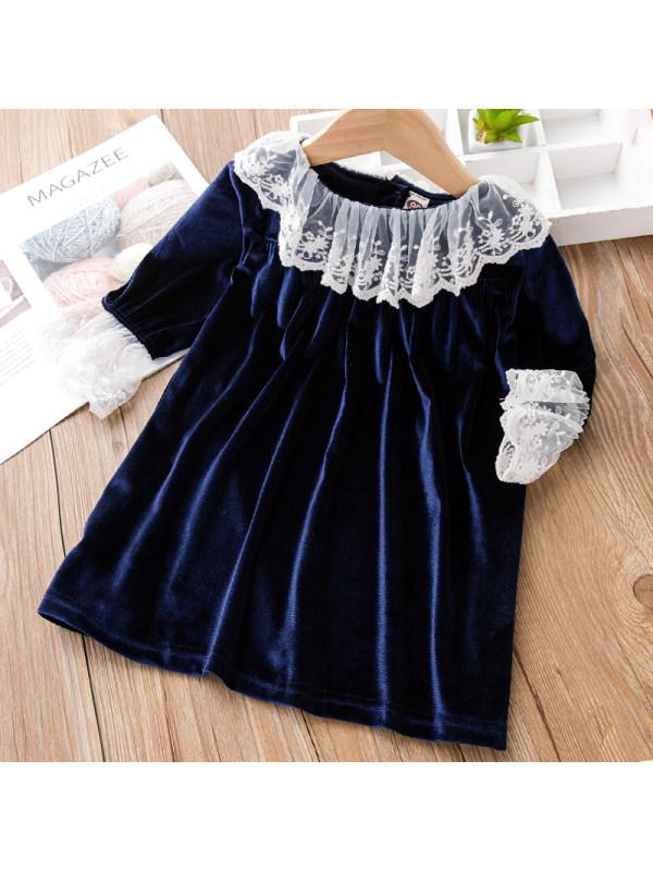 【18M-7Y】Girl Sweet Navy Blue Velvet Long-sleeved Dress